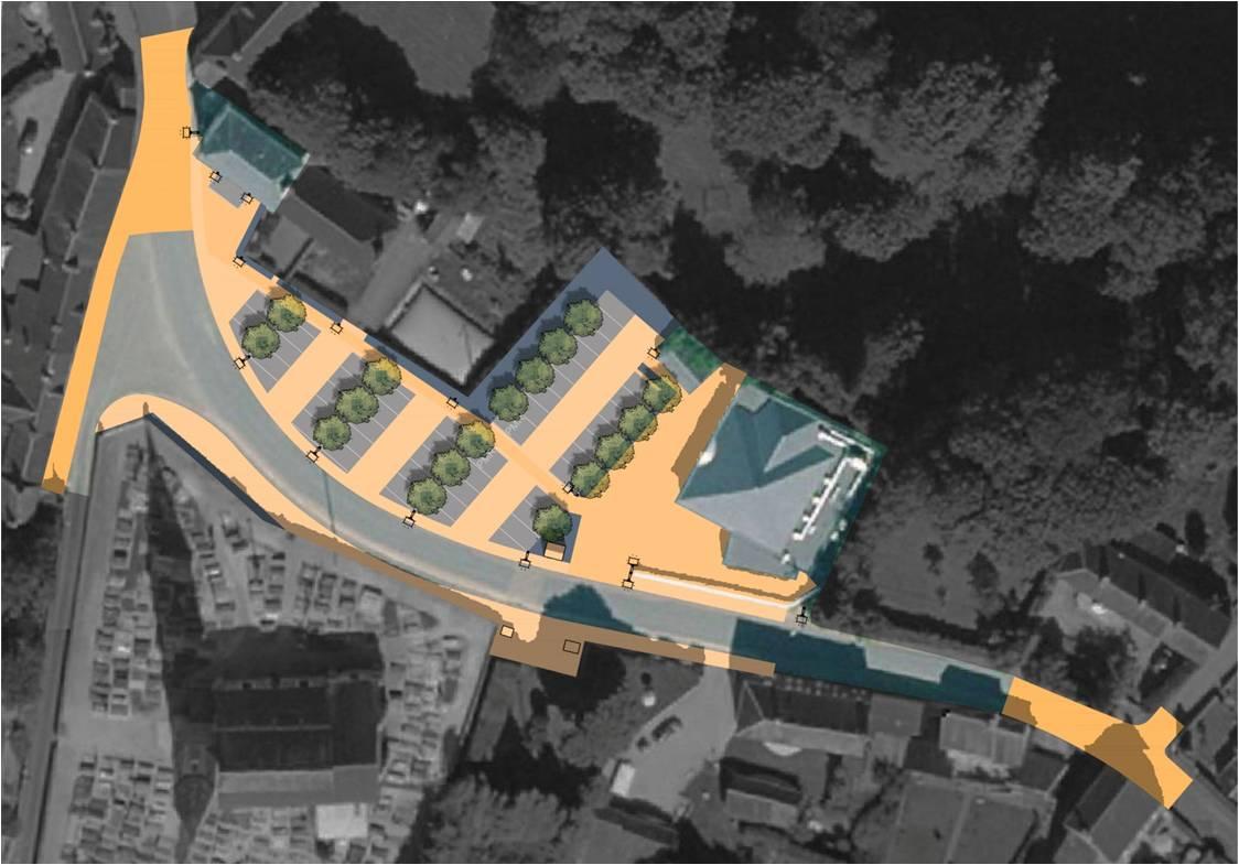 Plan du projet d'aménagement de la Place du bourg de Livry