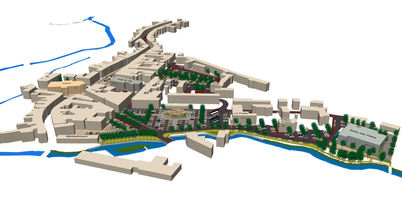 Axonométrie des places du centre ville